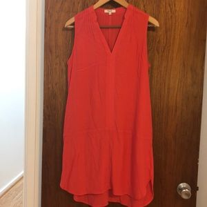 Madewell orange dress sleeveless with tucked trim